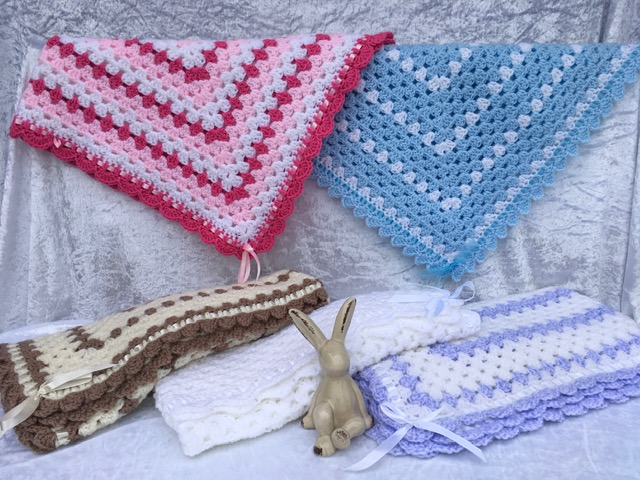 Photo of Crocheted Blanket with Ribbon Trim
